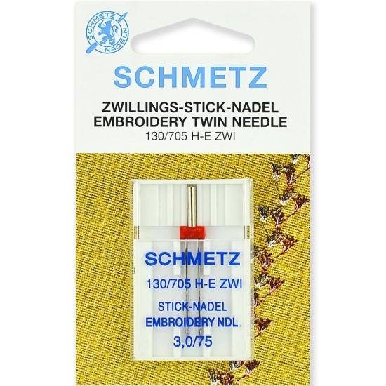 Игла двойная вышивальная Schmetz Twin Embroidery №75/3.0