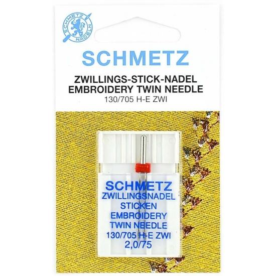 Двойная вышивальная игла Schmetz Twin Embroidery №75/2.0